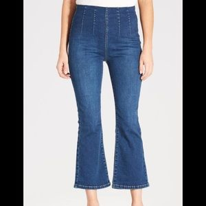 Free people crop flare pull on high waist jeans